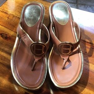Gorgeous Cole Haan gold& brown sandals